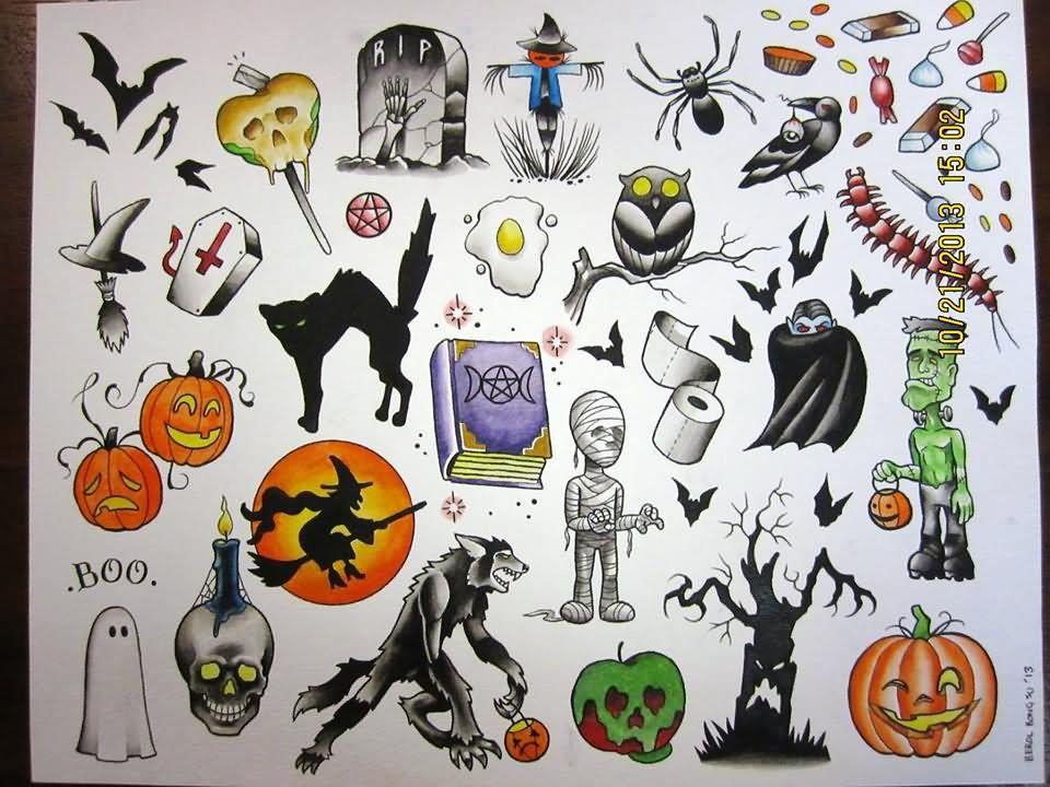 Pin by ashley bohr on Artsy stuff Halloween tattoo flash