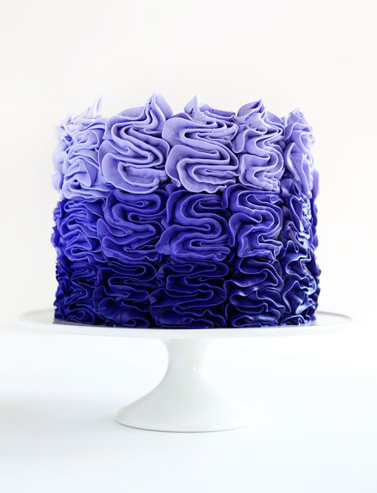 This Purple Ombre Messy Ruffle Cake Is Fast Easy And Really Fun I