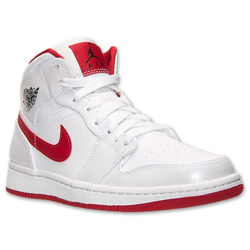 new styles a298c 42190 Men s Air Jordan Retro 1 Mid Basketball Shoes   Finish Line    White Black Gym Red