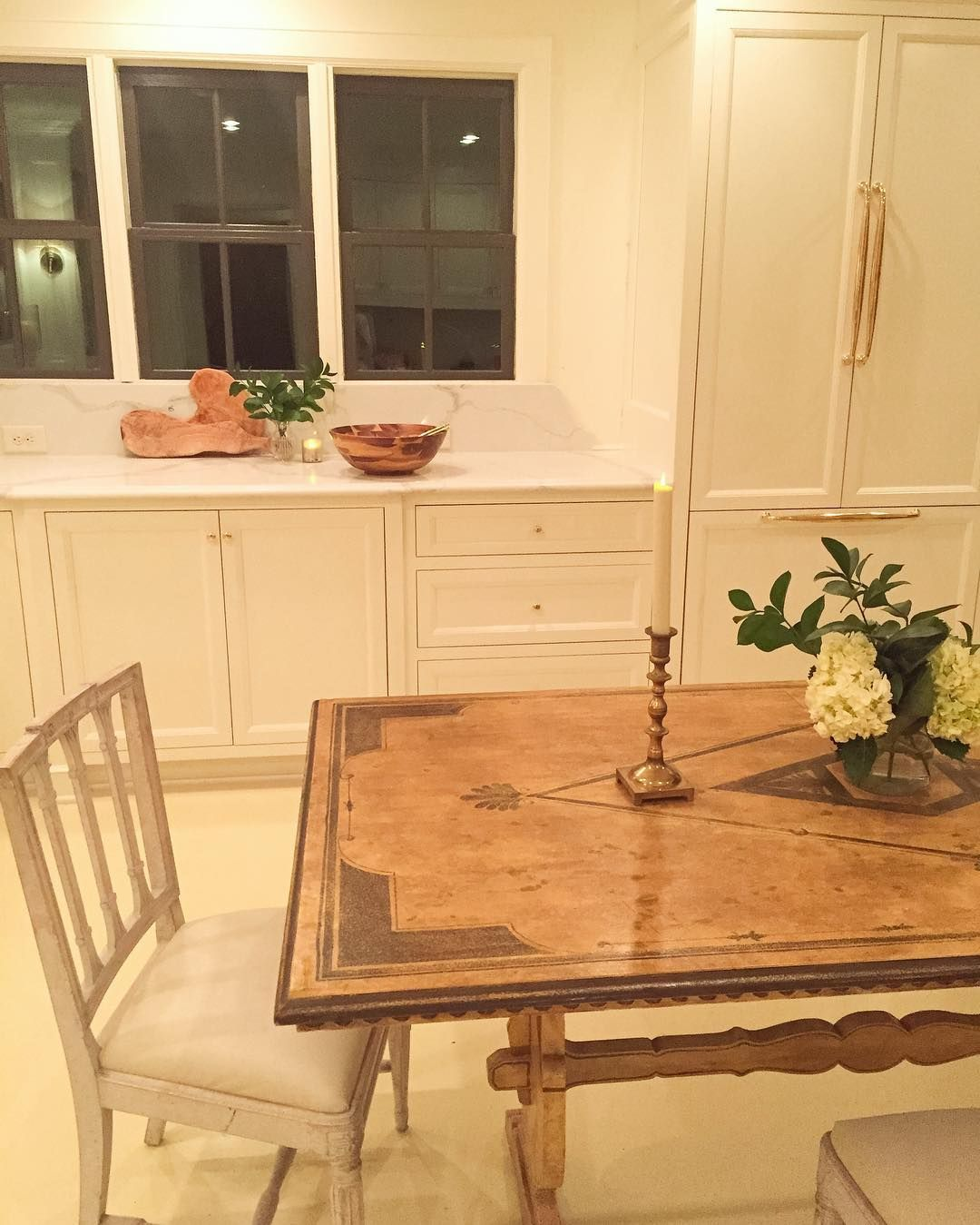 a stunning antique dining table in an all white kitchen by anne wagoner interiors on kitchen interior table id=30620