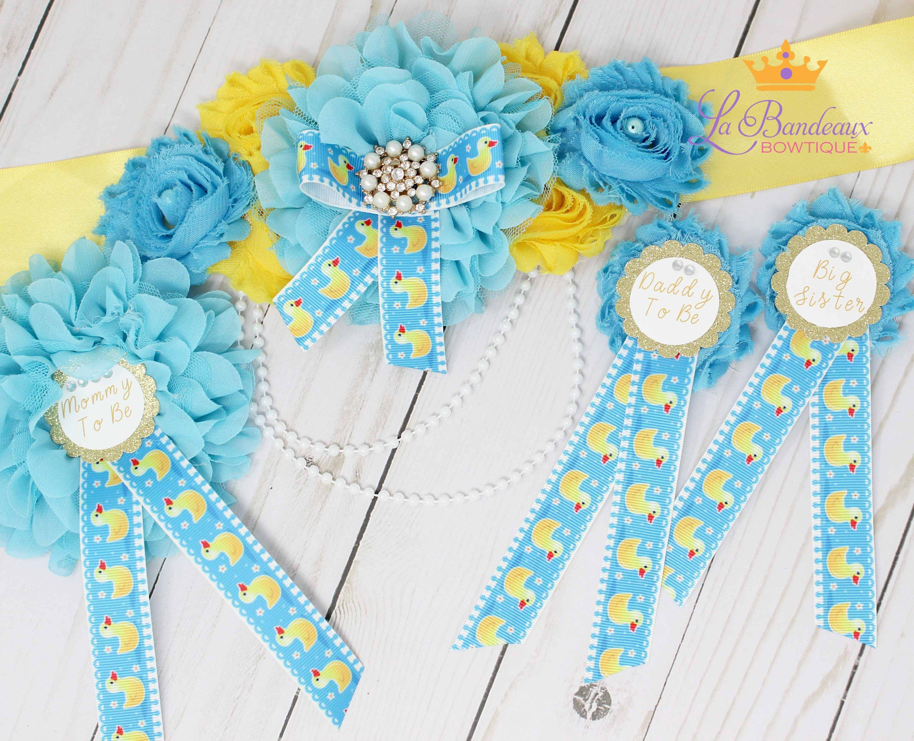 New Rubber Ducky Baby Shower Baby Boy Baby Shower Sash Duck Sash Duck Baby Shower Daddy To Be Corsage Pin Set Rubber Duck Belly Belt Sash Baby Shower Sash Baby Shower Duck Rubber Ducky Baby Shower