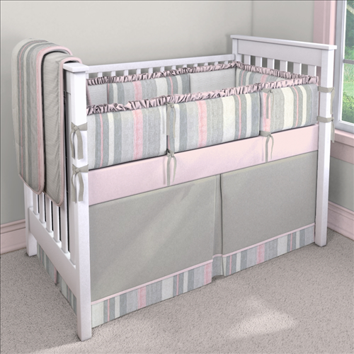 Blossom Stripe Custom 4-piece Crib Bedding Set | Blossom Stripe Nursery Idea | Carousel Designs 500x500 image