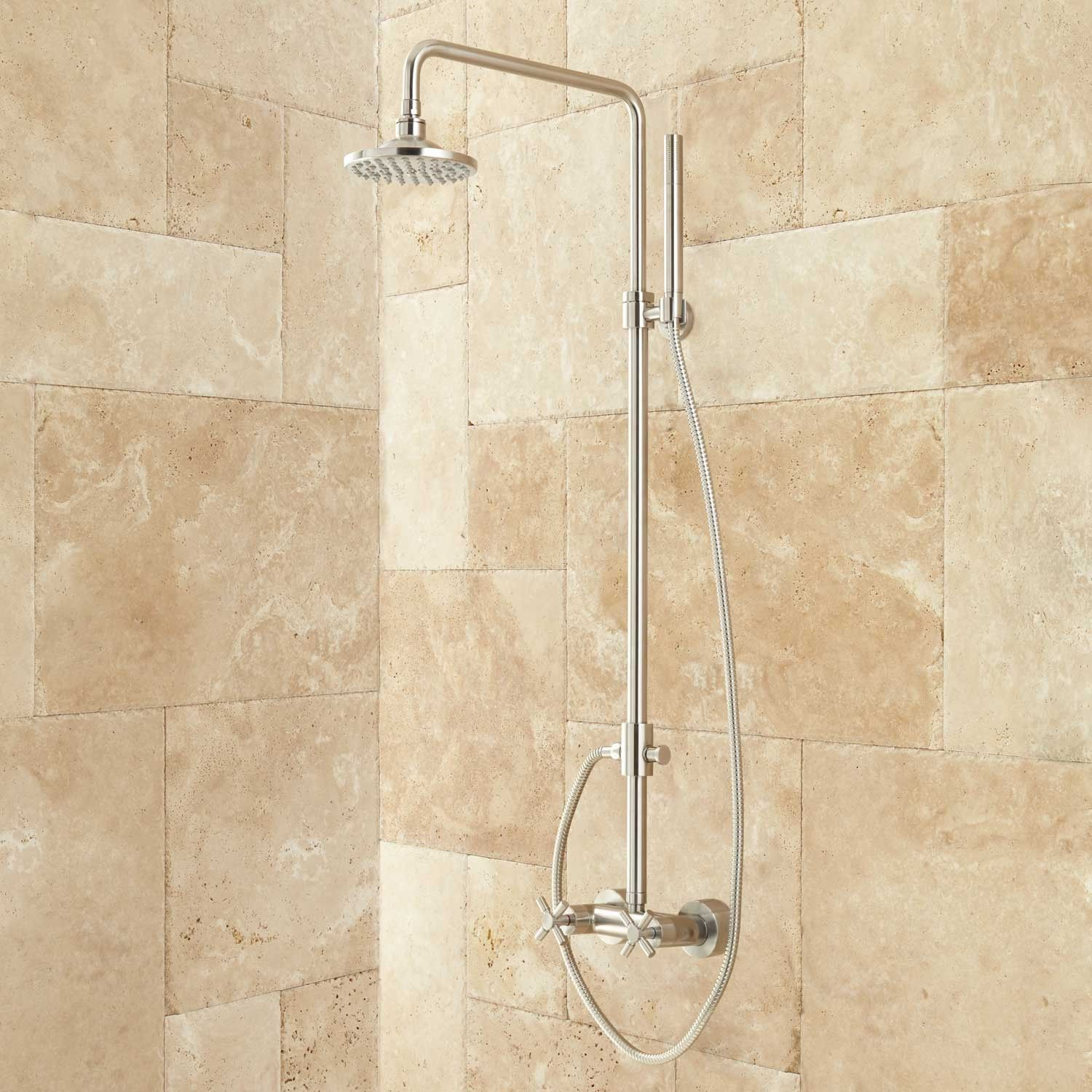 Bathroom shower pipe - Stiles Exposed Pipe Shower System With Rainfall Shower Head Hand Shower