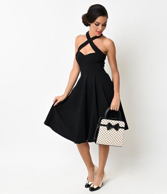 Unique Vintage 1950s Style Black Criss Cross Halter Flare Rita Dress