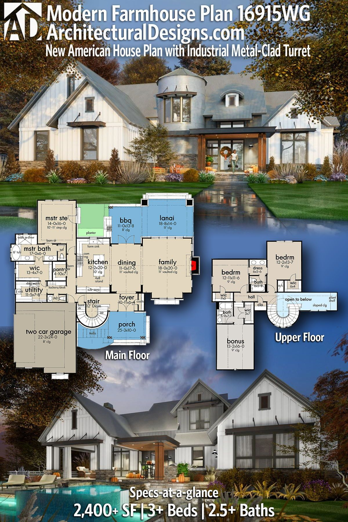 Plan 16915wg New American House Plan With Industrial Metal Clad Turret Farmhouse Floor Plans Modern Farmhouse Floors Modern Farmhouse Plans