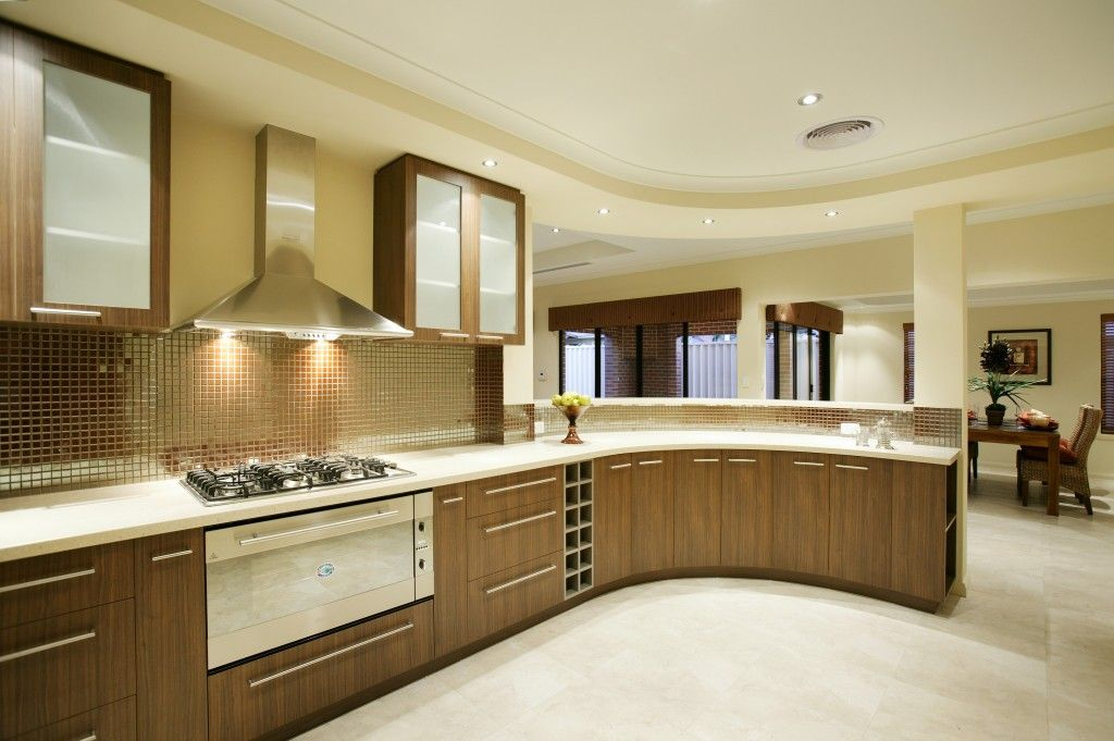 Modern Elegant Kitchen Designs In Pakistan With Glass Tile Wall