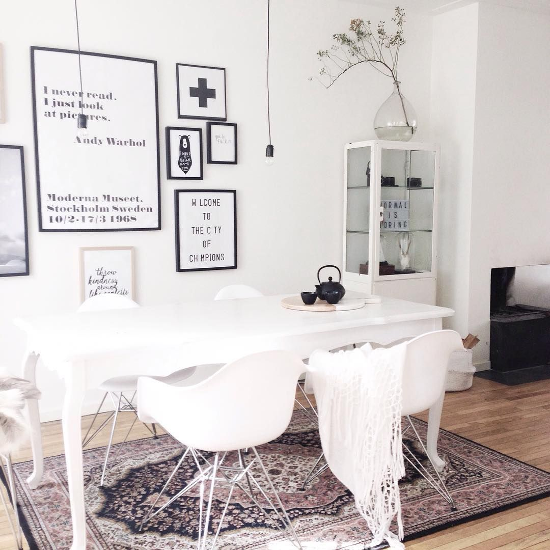 white scandinavian room with persian carpet | Dining rooms ...