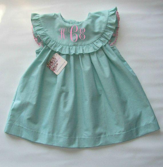 Monogram Flutter Sleeve Summer Dress Monogram Dress Girls Spring