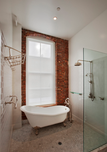 Exposed Brick Rails Roll Top Bath Shower Head Bathroom
