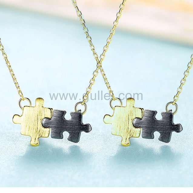 His and Hers Interlocking LOVE Promise Ring Couple Pendant Necklace Favour
