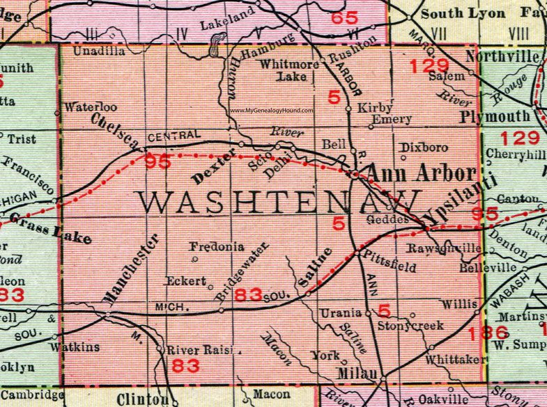 Washtenaw County Michigan 1911 Map Rand Mcnally Ann Arbor Ypsilanti Saline Milan Manchester Dexter Chelsea Raw Washtenaw County County Map Michigan