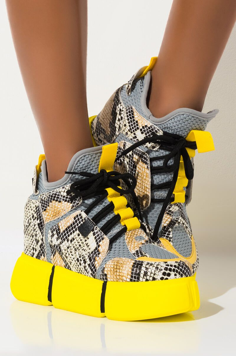 High Top Wedge Sneakers Yellow