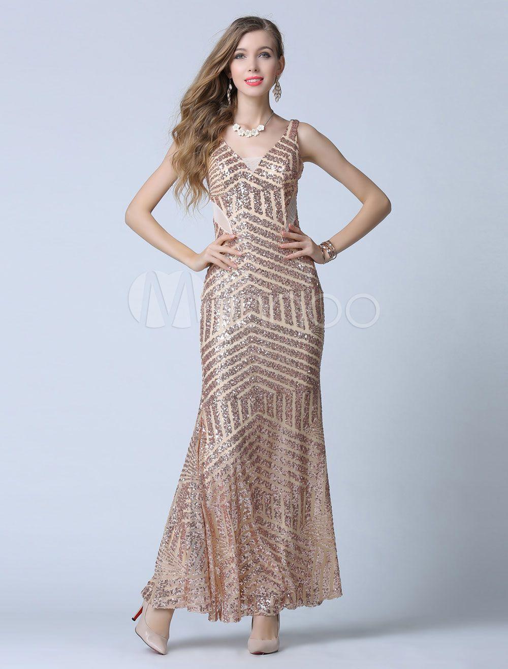 Bainha do vestido de baile ouro correias V profundo lantejoulas, vestido de noite - Milanoo.com