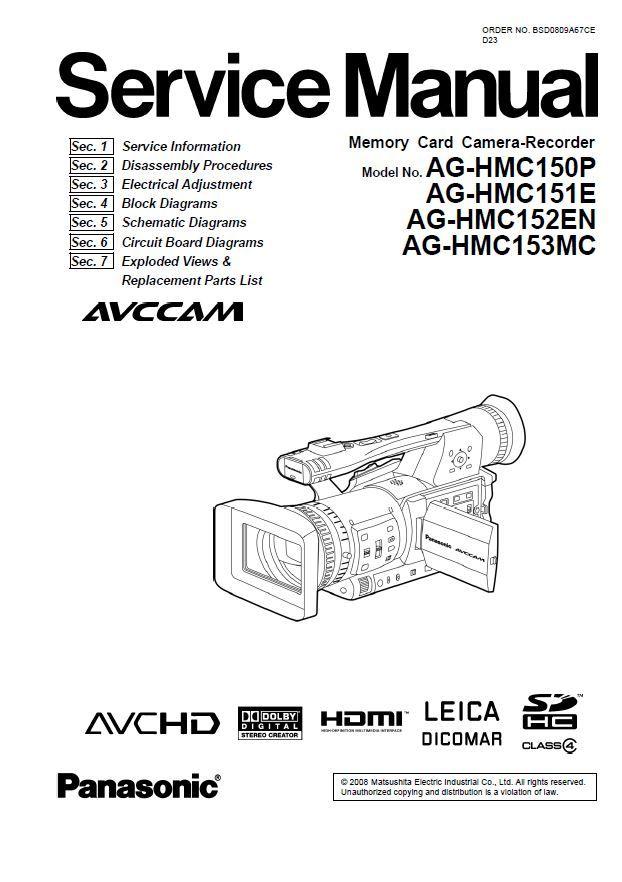 Panasonic AG-HMC150 HMC151 HMC152 HMC153 Camcorder Service