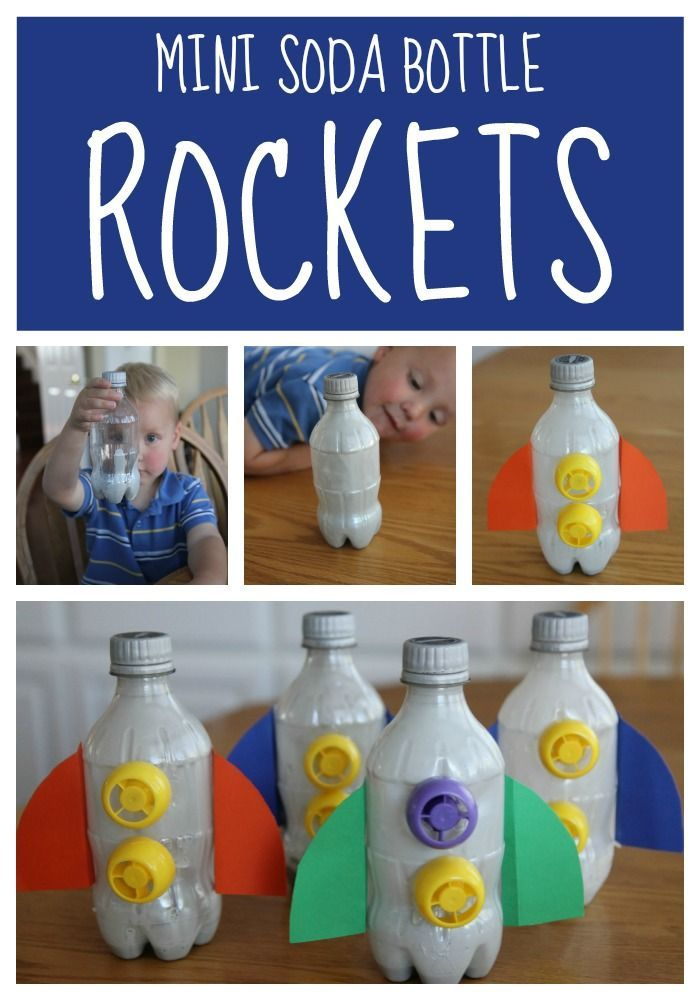 Mini Soda Bottle Rocket Craft For Toddlers Space Crafts For Kids