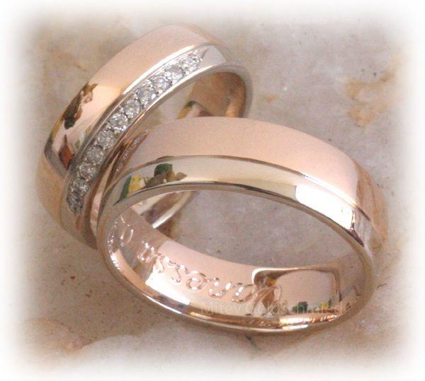 Eheringe IM341, mit 11 Diamanten Rosegold und Weissgold Bicolor ...