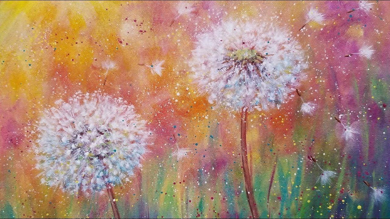 Dandelion Wildflowers LIVE Beginner Acrylic Painting ...