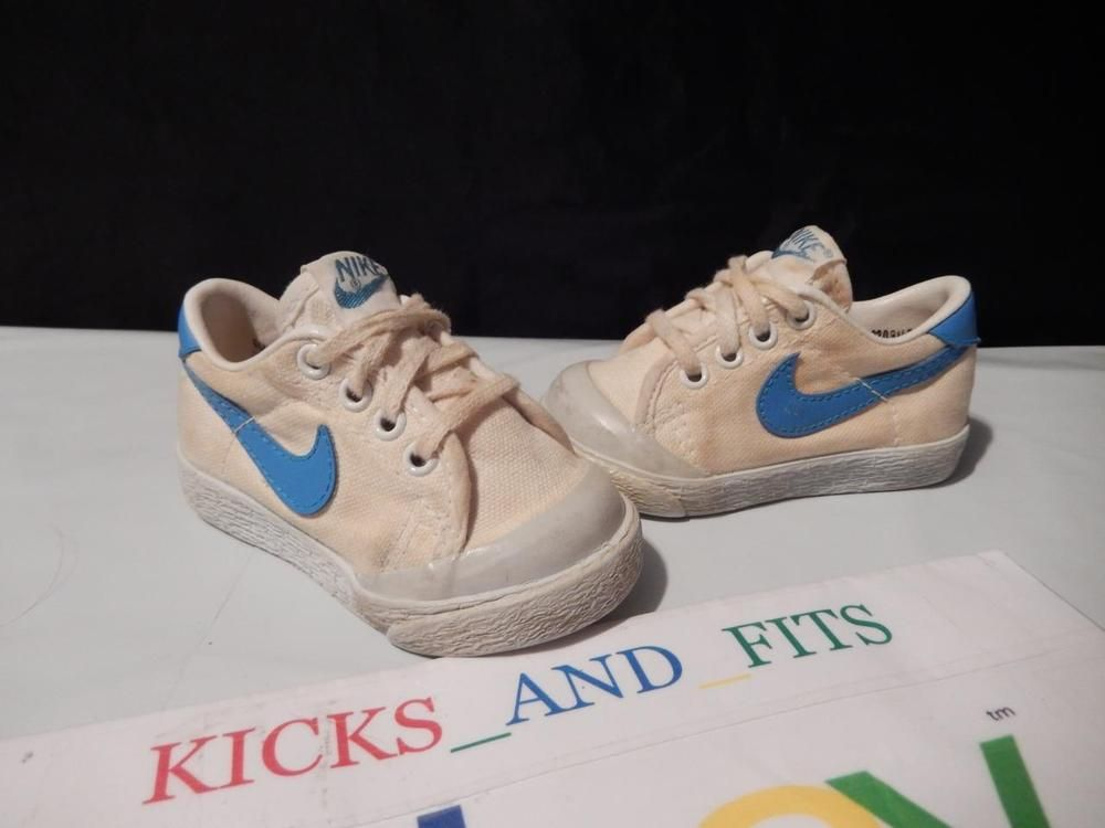 fdb6c04330cb 1982 NIKE COURT CANVAS BABY SHOES SZ 2.5C WHITE BLUE RARE VINTAGE OG TENNIS   Nike  Athletic