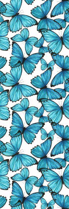 Removable Wallpaper Self Adhesive Blue Butterflies Nursery Wallpaper Peel & Stick Wallpaper