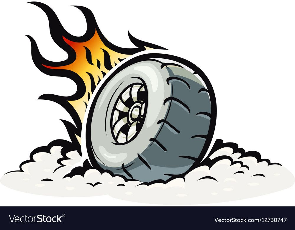 Car wheel with burning fire Vector illustration for Tattoo