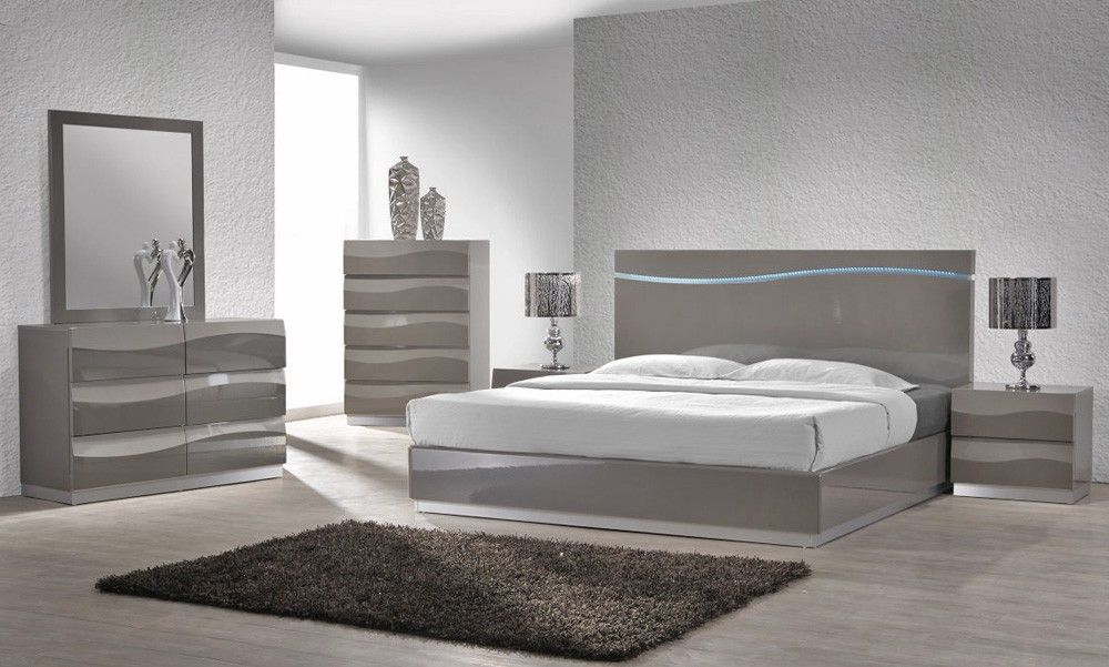 Enzo Grey Lacquer Bed With Led Lights Bedroom Set Designs