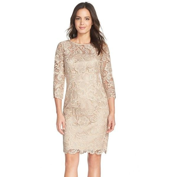 Adrianna Papell Illusion Yoke Guipure Lace Sheath Dress ($198) ❤ liked on Polyvore featuring dresses, champagne, floral dress, 3/4 sleeve lace dress, lace overlay cocktail dress, vintage white lace dress and sheath dress