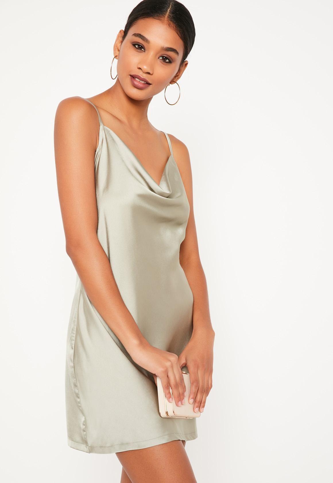 e646e778f6f8d green silky cowl front cami dress