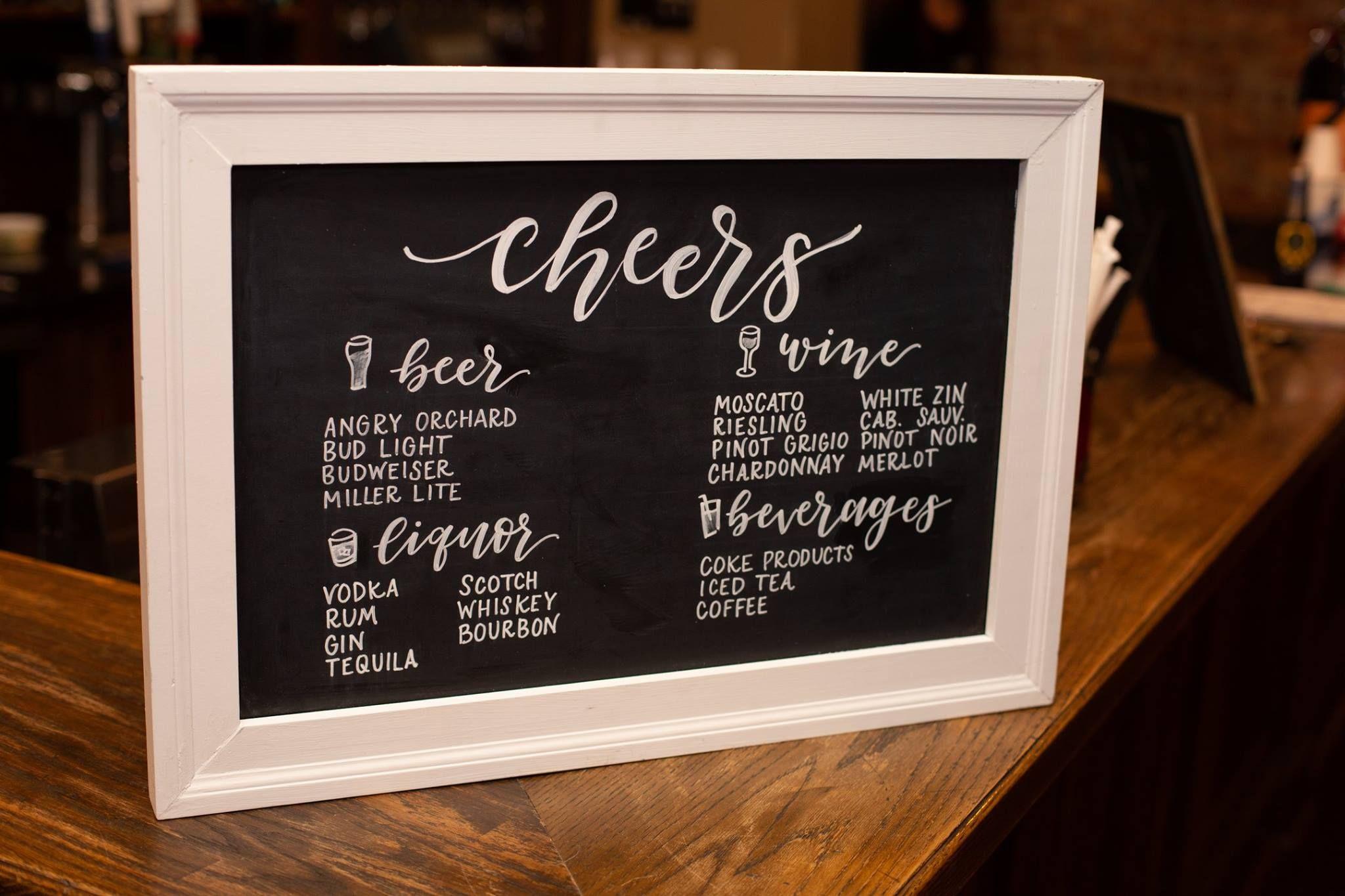 Cheers Bar Menu Modern Calligraphy Chalkboard lettering
