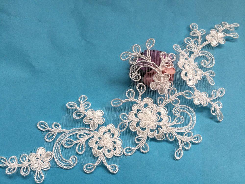 Bridal lace applique light ivory applique corded alencon