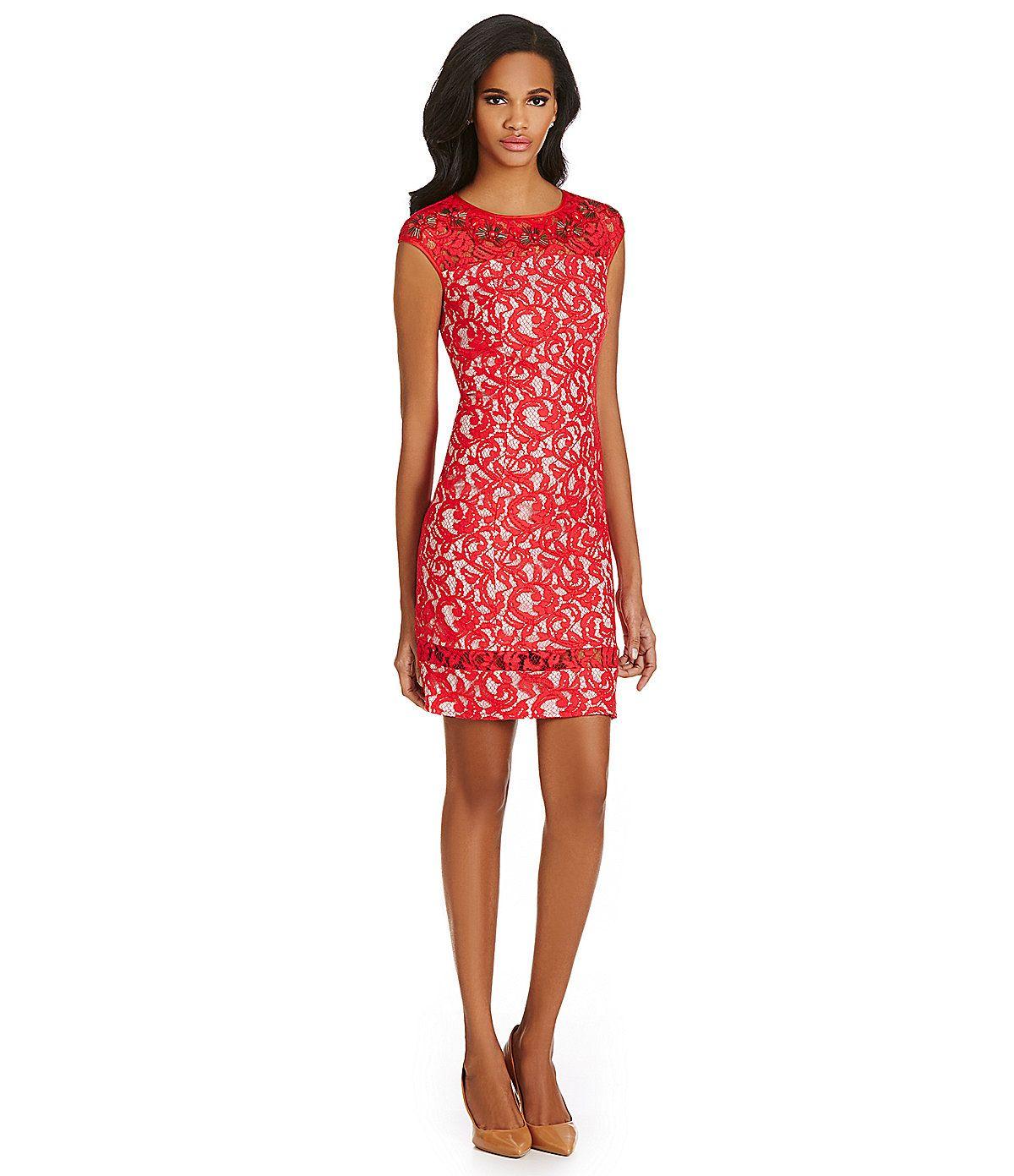 d11f60c394f Adrianna Papell Cap-Sleeve Lace Sheath Dress