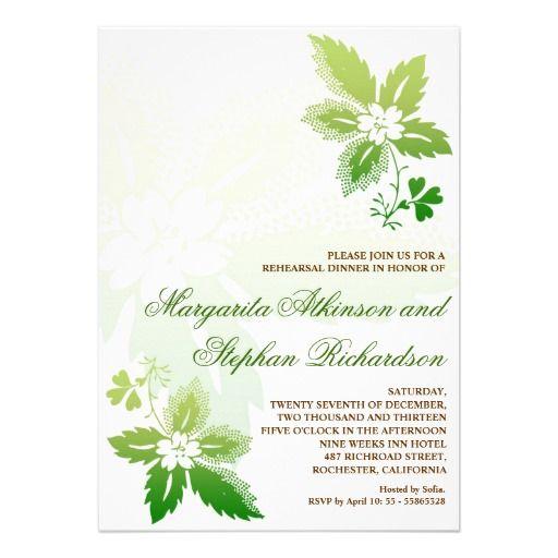 beautiful green leaves rehearsal dinner invitation