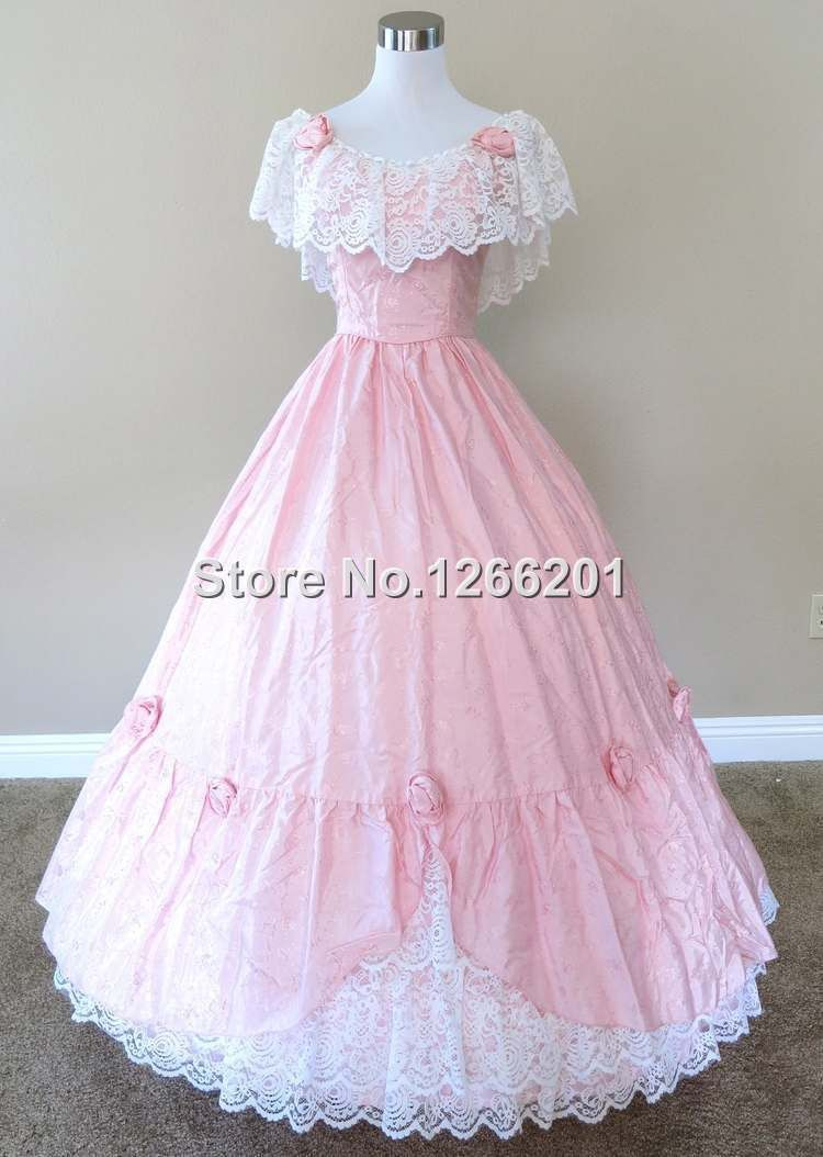 Pink Rosette & Lace Gown Civil war costume renaissance dress satin ...