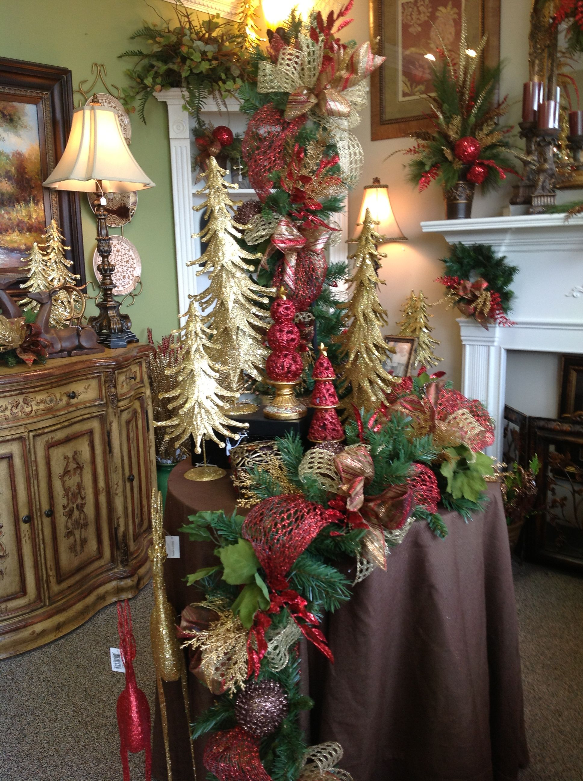 Garland in the elegant christmas room i love this business i haven