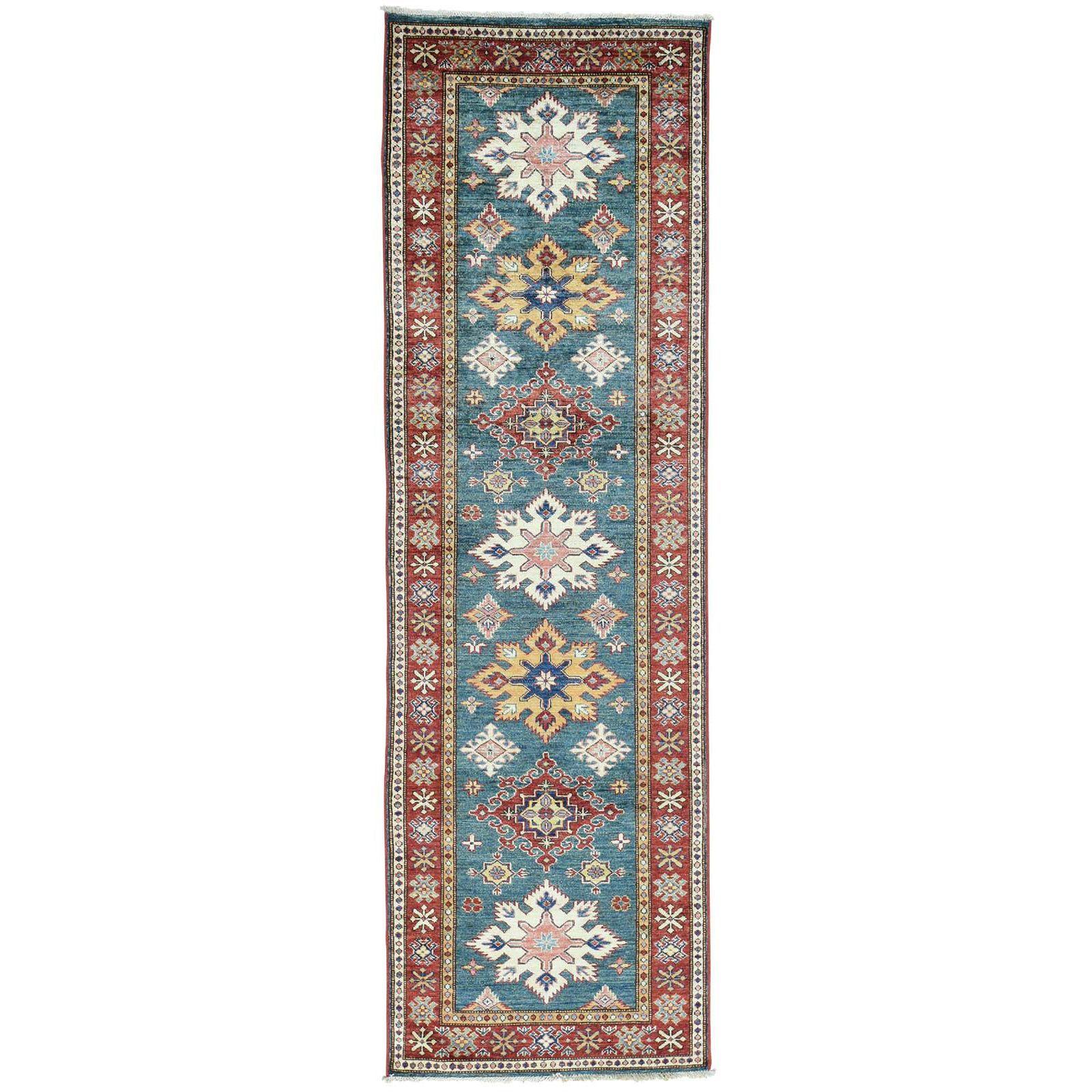 "1800getarug Hand-Knotted Super Kazak Tribal Design Runner Oriental Rug (2'7x8'5) (Exact Size: 2'7"" x 8'5""), Green, Size 3' x 8'"