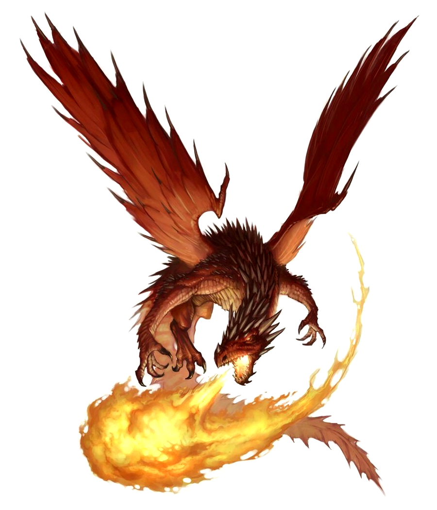 Ancient Red Dragon breathing fire - Pathfinder PFRPG DND D&D