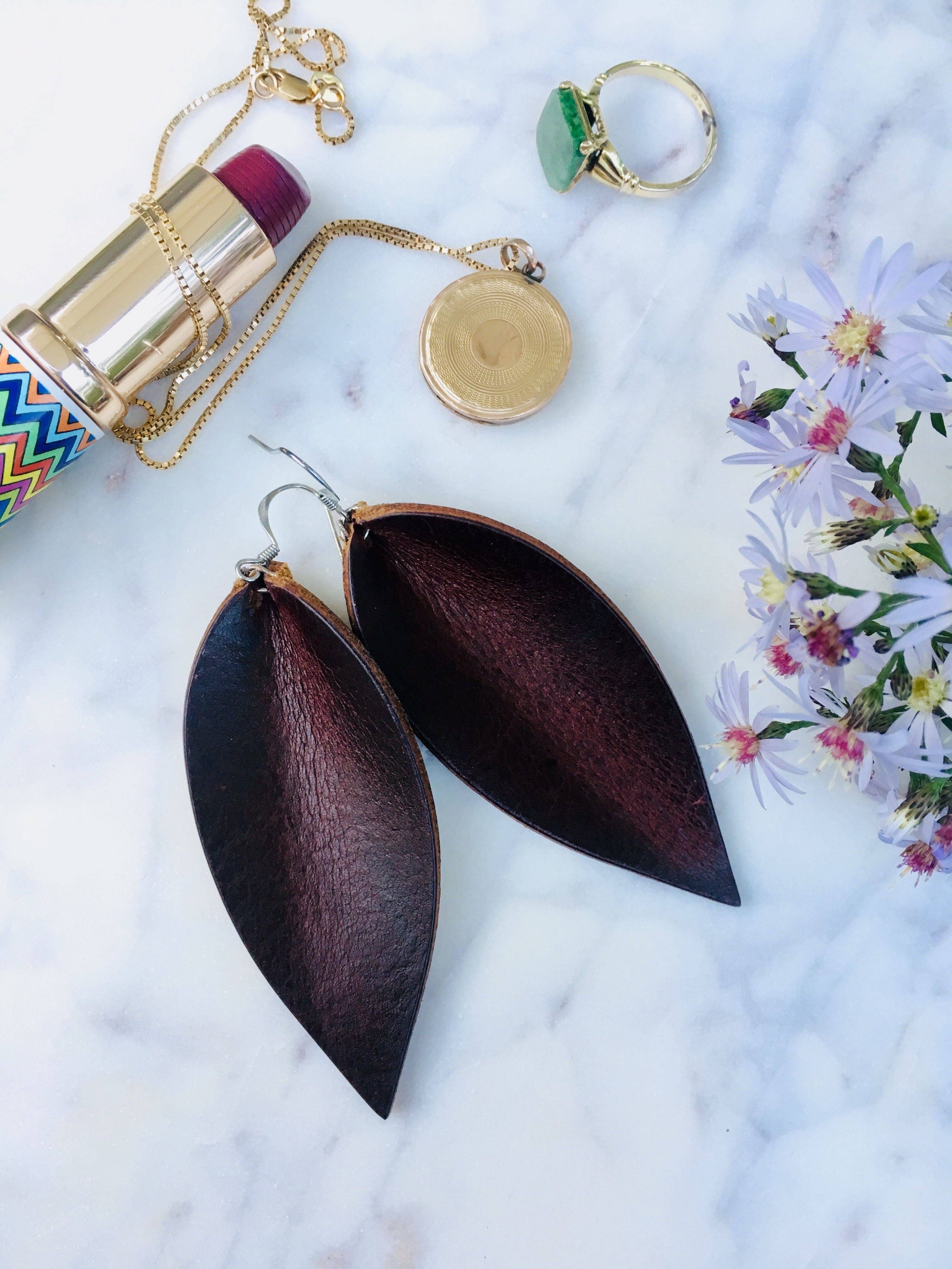 Leather Leaf Earrings Red Wine Leather Leaf Earrings Leather Leaf Earrings Pinched Leaf Earrings Burgundy Leather Earring Leaf Earrings Leather Earrings Leather Leaf
