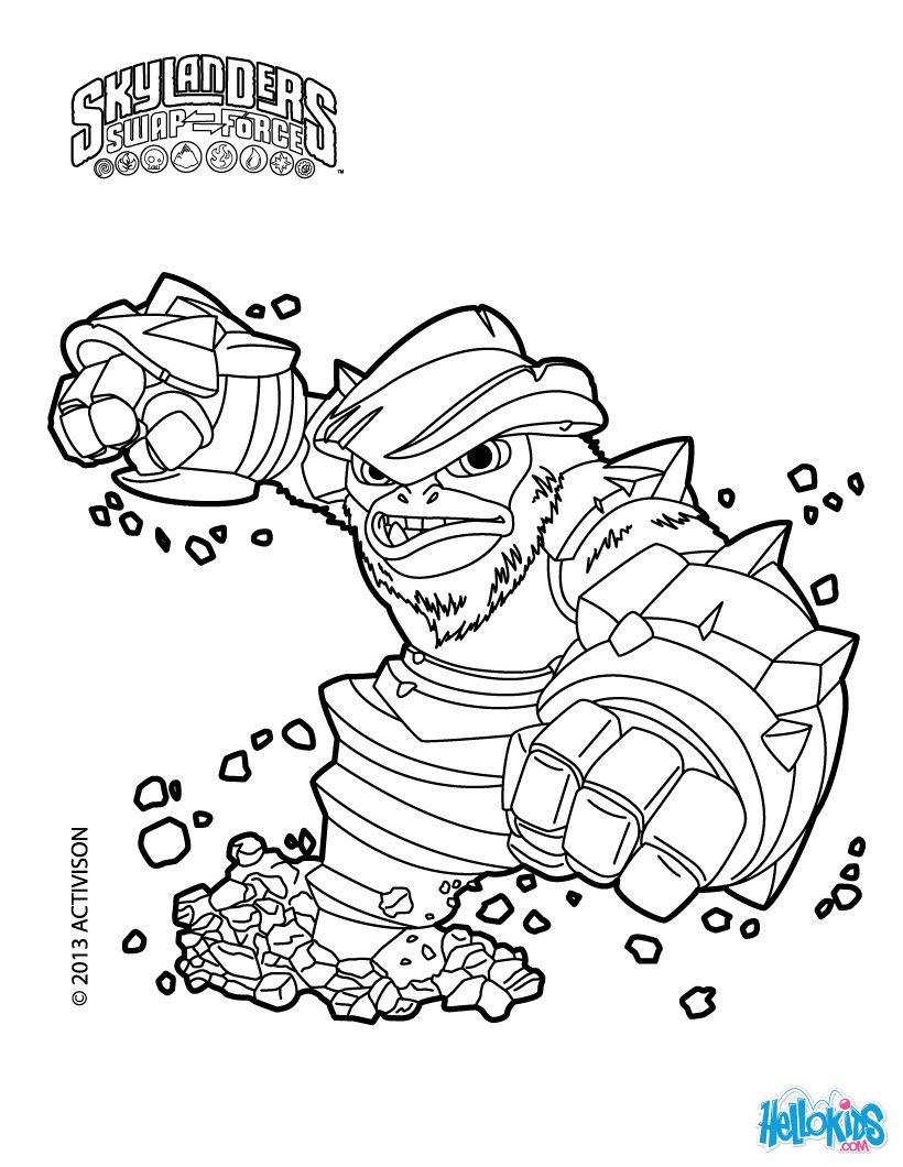 grilla drilla coloring page skylanders swap force kid stuff