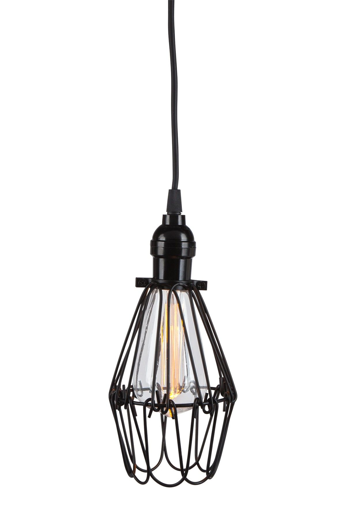 Black Oblong Metal Cage Battery Operated Pendant Light With St64 Edison Led Bulb By Gerson Company On Hautelook