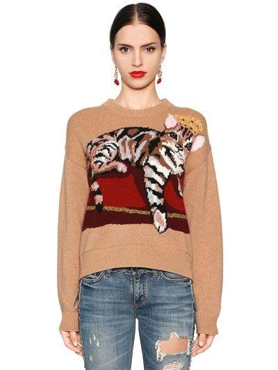 fc5242c15f5dfb DOLCE & GABBANA Cat Intarsia Cashmere Blend Knit Sweater, Brown/Beige. # dolcegabbana #cloth #knitwear