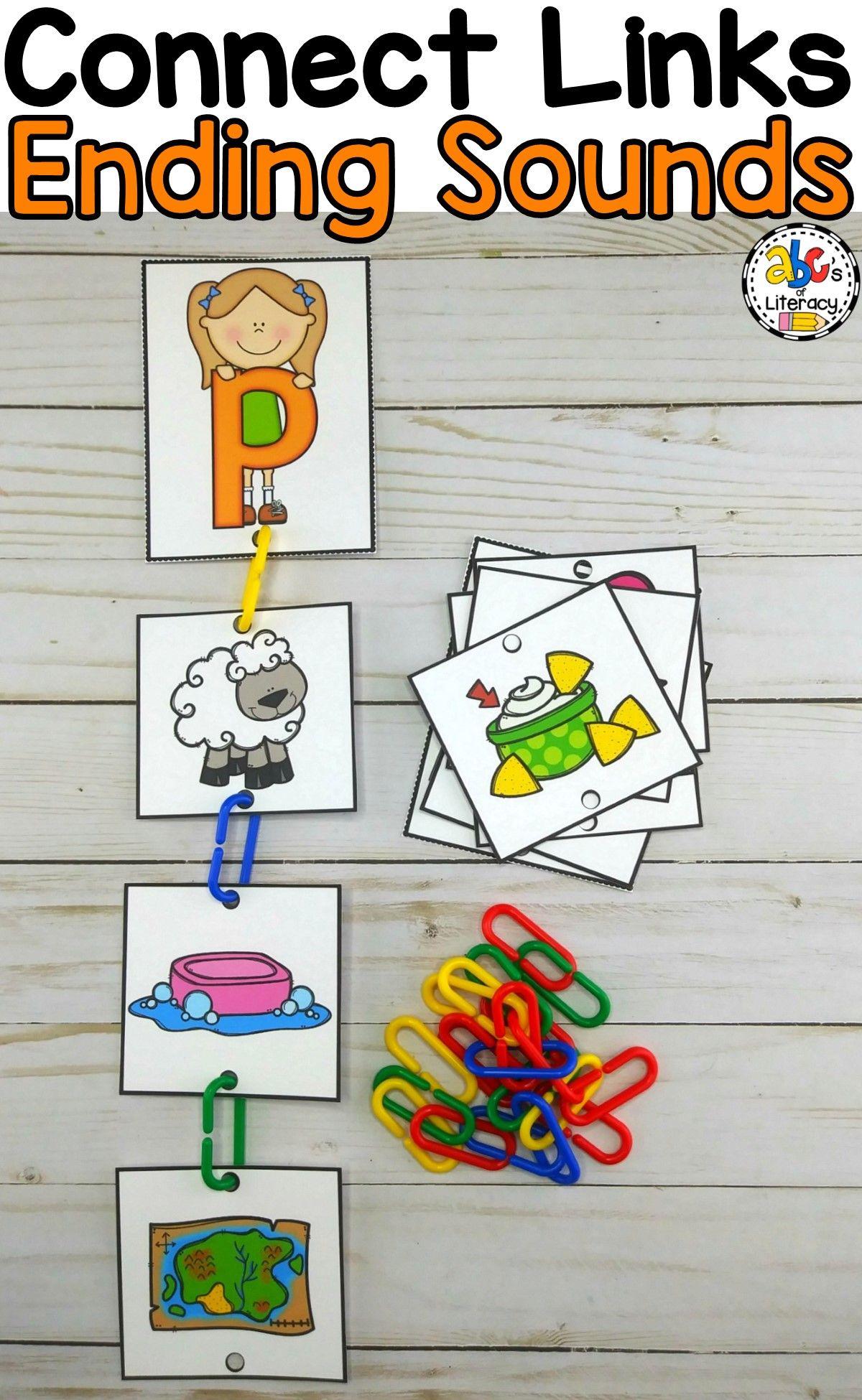 Connect Links Ending Sounds Sort Reading Foundational Skills Phonemic Awareness Kindergarten Kindergarten Fun [ 1950 x 1200 Pixel ]