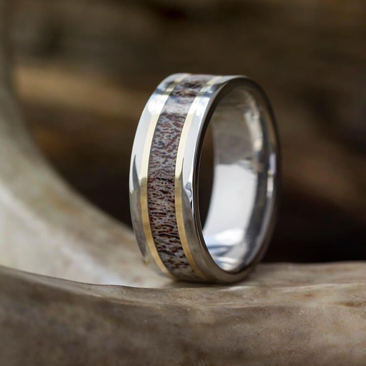 Unique Wedding Rings Antler: Titanium Antler Wedding Band With Yellow Gold Pinstripes