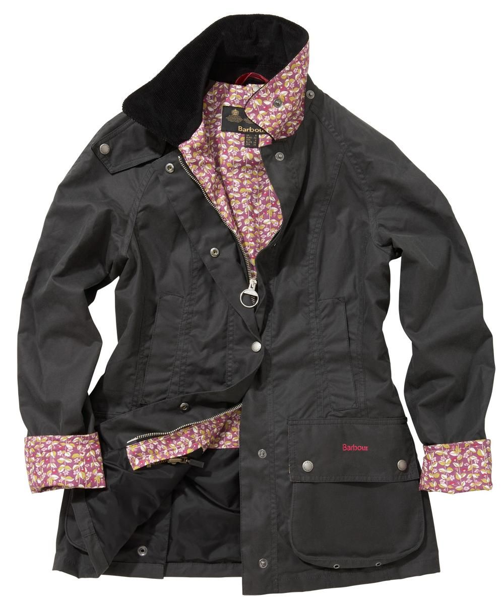 Barbour with liberty print - Womens Barbour Liberty Beadnell Waxed Jacket -  Dark Charcoal | Scarlett