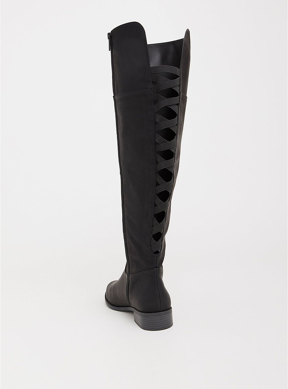 18e4b99a256 Black Lattice Faux Leather Over the Knee Boot (Wide Width   Wide Calf)