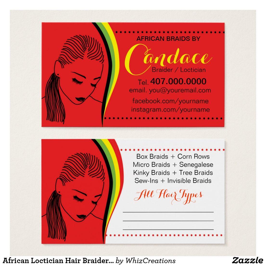 African Loctician Hair Braider Salon Business Card | Hair braider ...