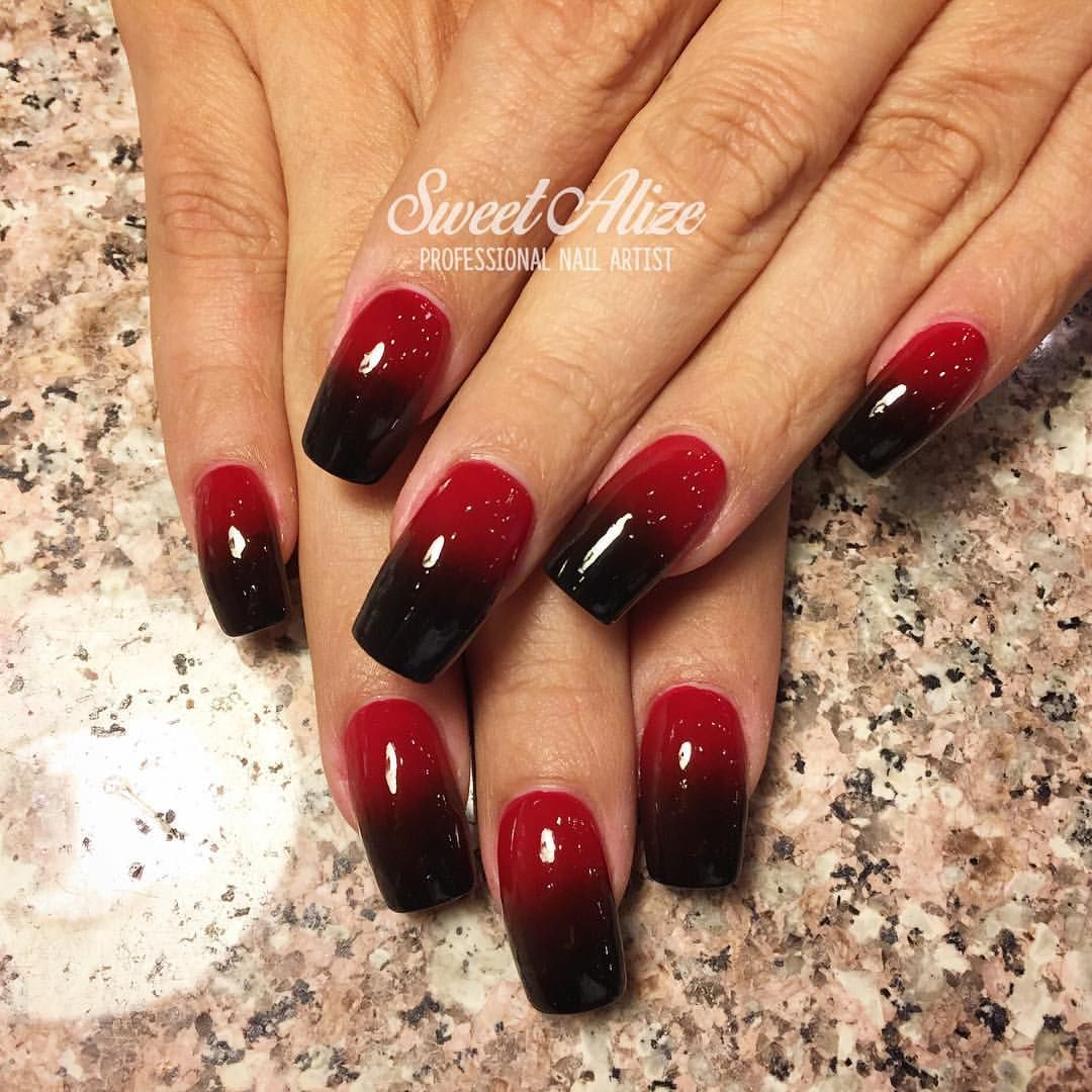 Red to black ombré over acrylic nails ombre ombrenails