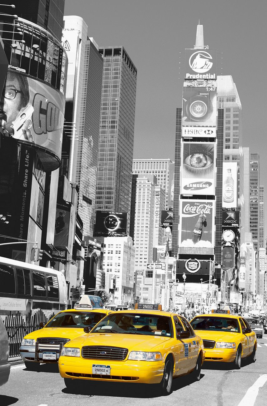 times square wall mural buy europosters new york taxis night Home