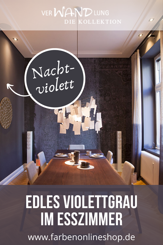 Elegantes Grau Violett Als Wandfarbe Im Esszimmer Altbau In 2020 Wandfarbe Wandfarbe Schlafzimmer Lounge Design