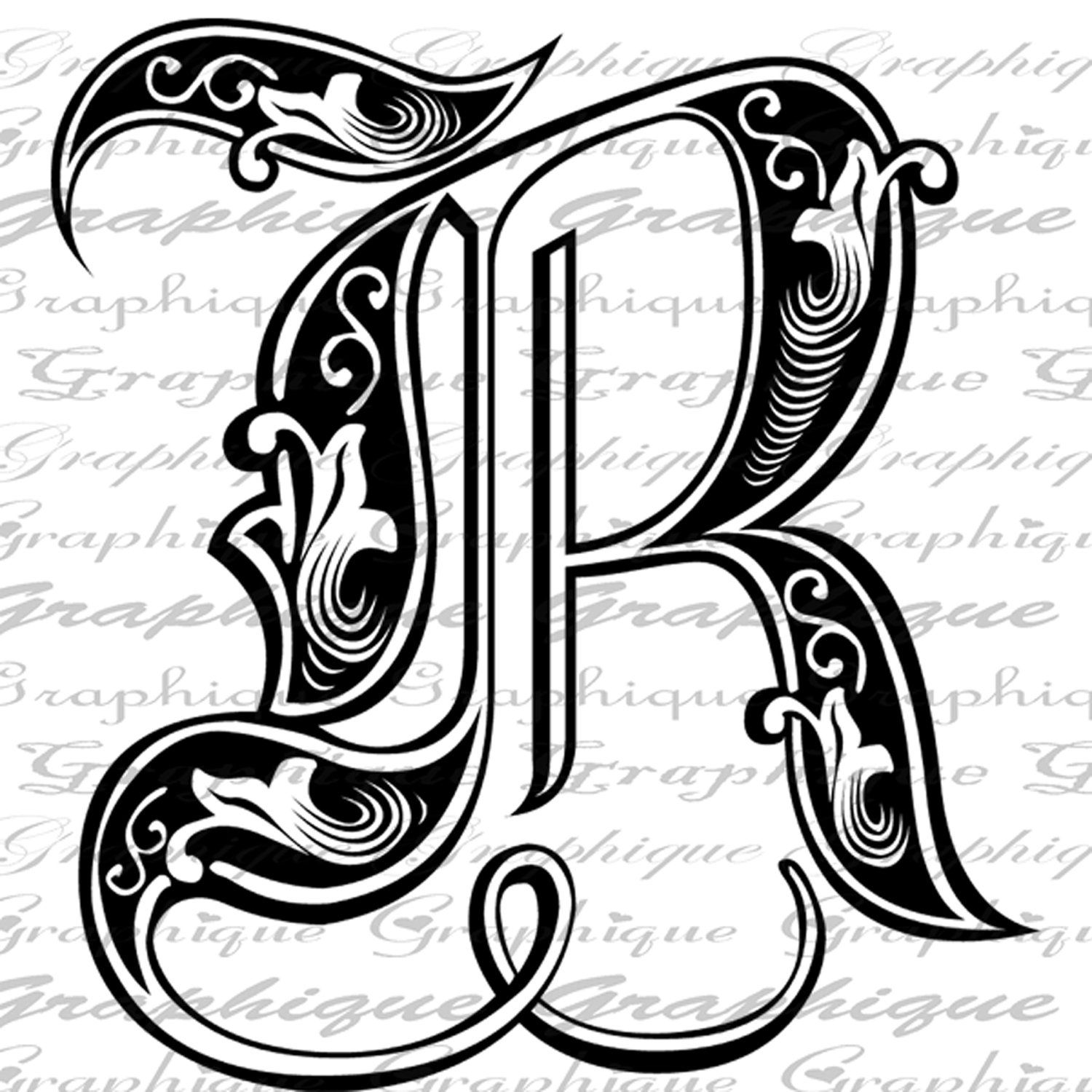 LETTER Initial R Monogram Old ENGRAVING Style Type Text