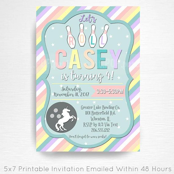 Rainbows and Unicorns Bowling Birthday Party Printable Invitation - bowling invitation