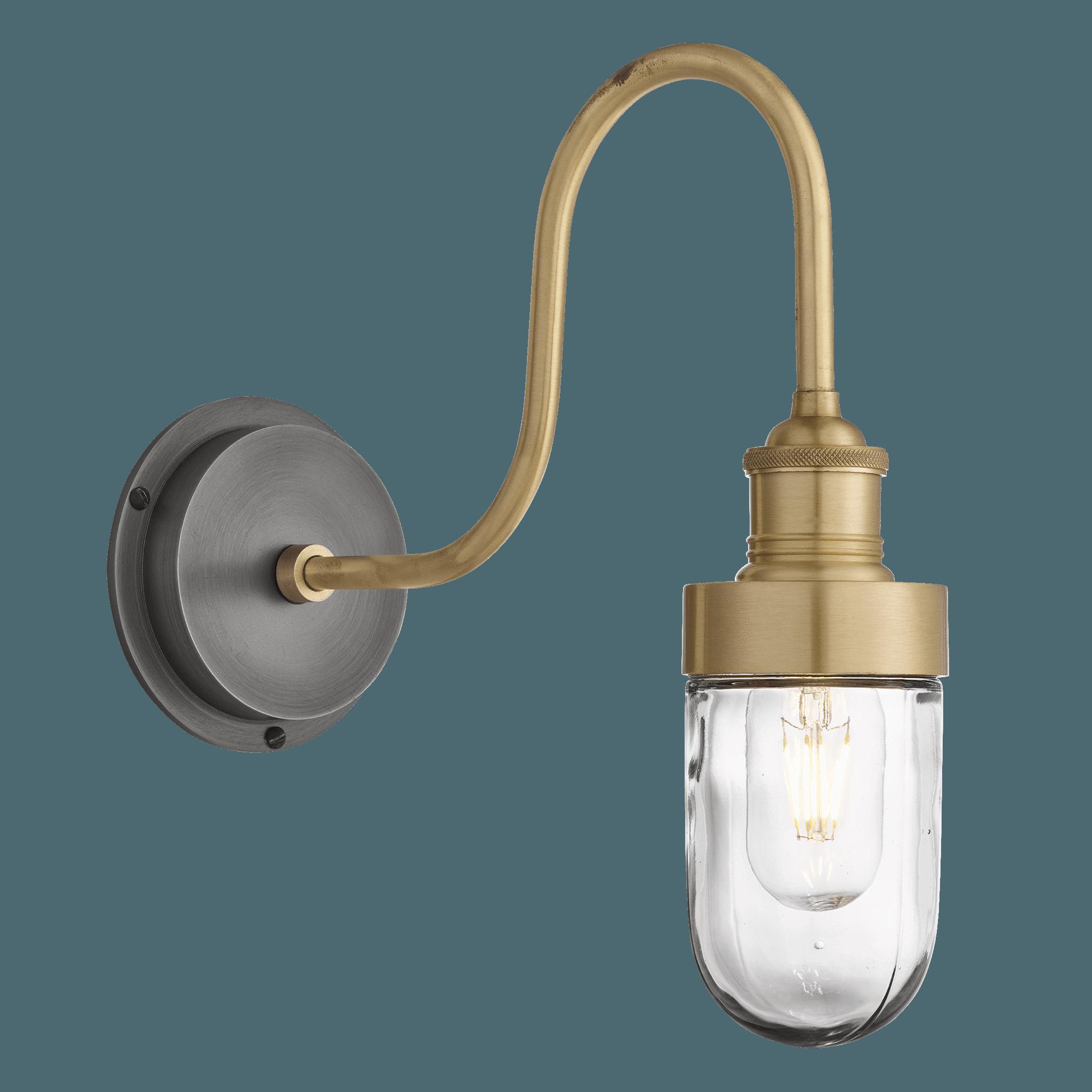 Swan Neck Outdoor Bathroom Wall Light Brass Tube Glass In
